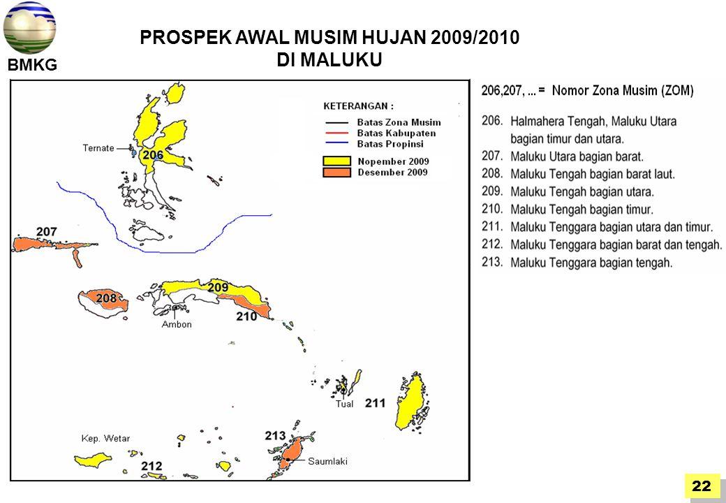 BMKG 22 PROSPEK AWAL MUSIM HUJAN 2009/2010 DI MALUKU