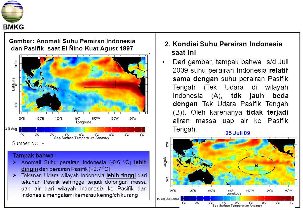 BMKG Gambar: Anomali Suhu Perairan Indonesia dan Pasifik saat El Ñino Kuat Agust 1997 Tampak bahwa :  Anomali Suhu perairan Indonesia (-0.6 0 C) lebih dingin dari perairan Pasifik (+2.7 0 C)  Tekanan Udara wilayah Indonesia lebih tinggi dari tekanan Pasifik sehingga terjadi dorongan massa uap air dari wilayah Indonesia ke Pasifik dan Indonesia mengalami kemarau kering/ch kurang Dari gambar, tampak bahwa s/d Juli 2009 suhu perairan Indonesia relatif sama dengan suhu perairan Pasifik Tengah (Tek Udara di wilayah Indonesia (A), tdk jauh beda dengan Tek Udara Pasifik Tengah (B)).