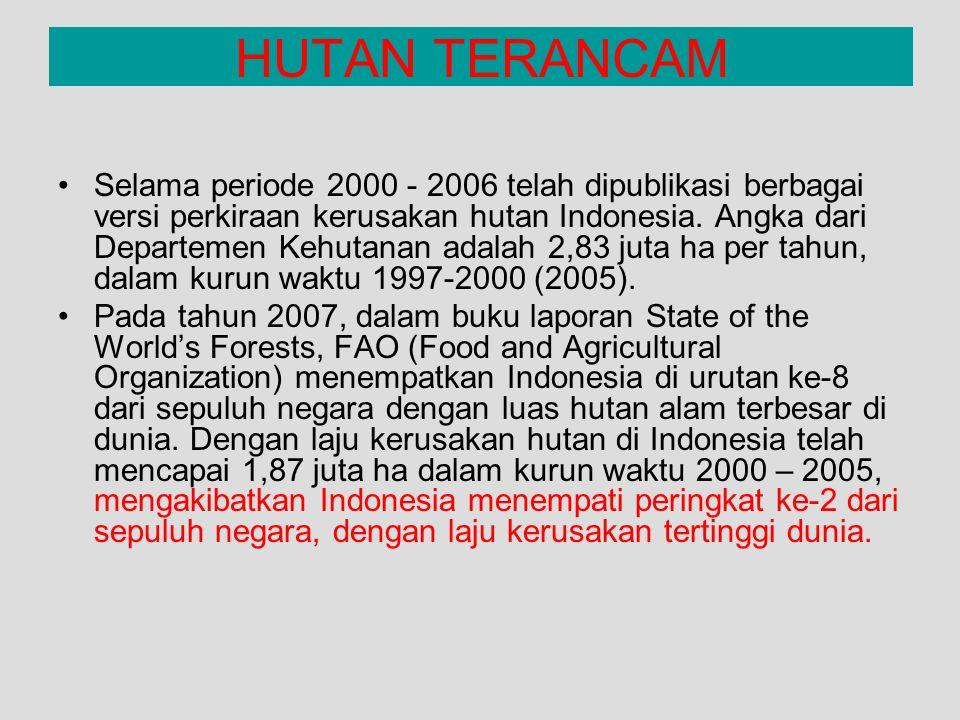 Selama periode 2000 - 2006 telah dipublikasi berbagai versi perkiraan kerusakan hutan Indonesia. Angka dari Departemen Kehutanan adalah 2,83 juta ha p