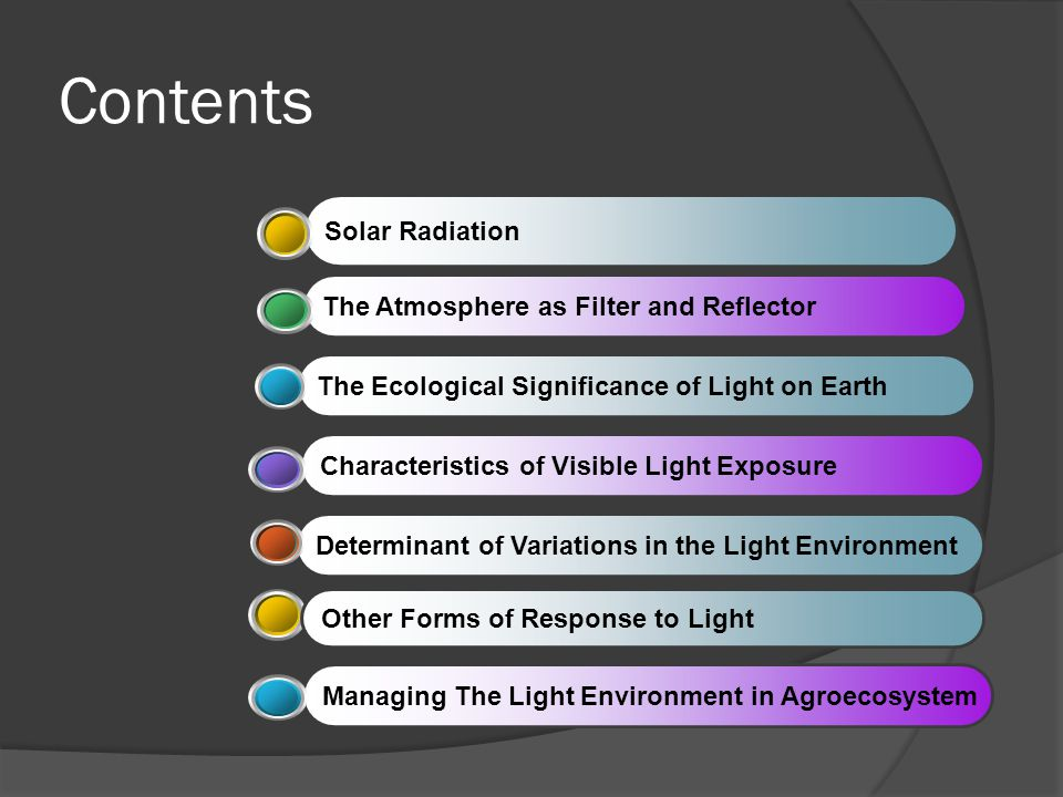 Contents Solar Radiation The Atmosphere as Filter and ReflectorThe Ecological Significance of Light on EarthCharacteristics of Visible Light ExposureD