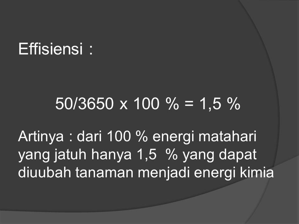 Effisiensi : 50/3650 x 100 % = 1,5 % Artinya : dari 100 % energi matahari yang jatuh hanya 1,5 % yang dapat diuubah tanaman menjadi energi kimia