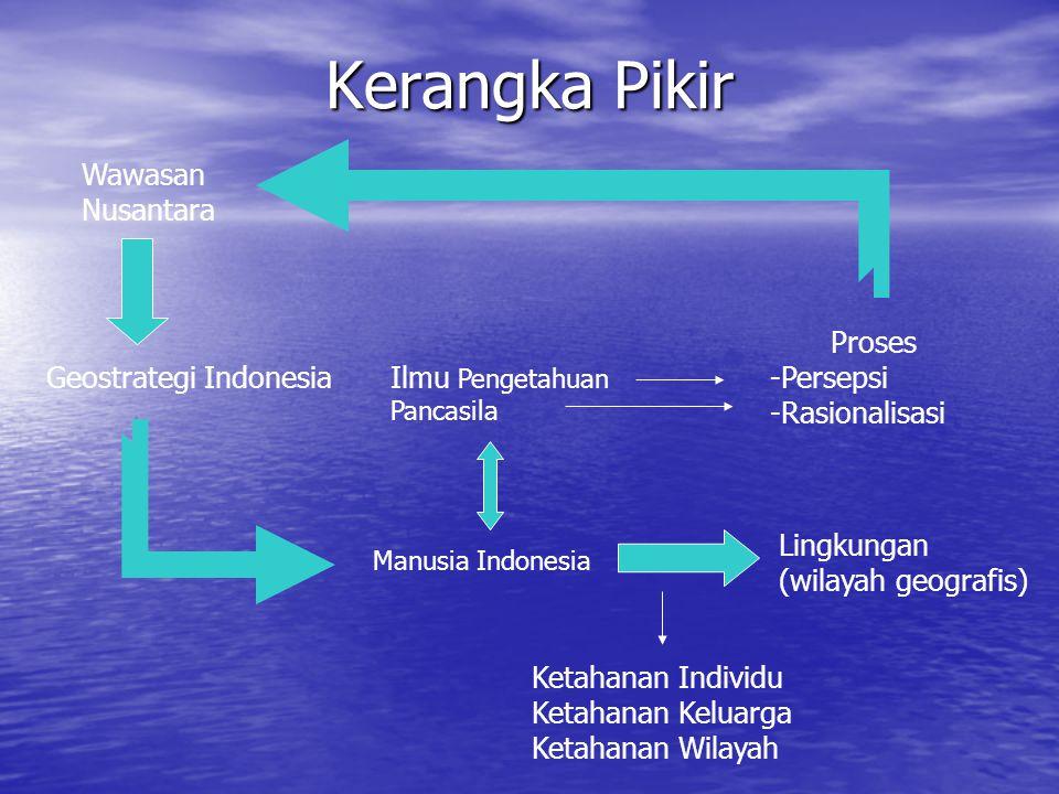Sejak tahun 1972 Lembaga Ketahanan Nasional terus melakukan pengkajian tentang geostrategi Indonesia yang lebih sesuai dengan konstelasi Indonesia.