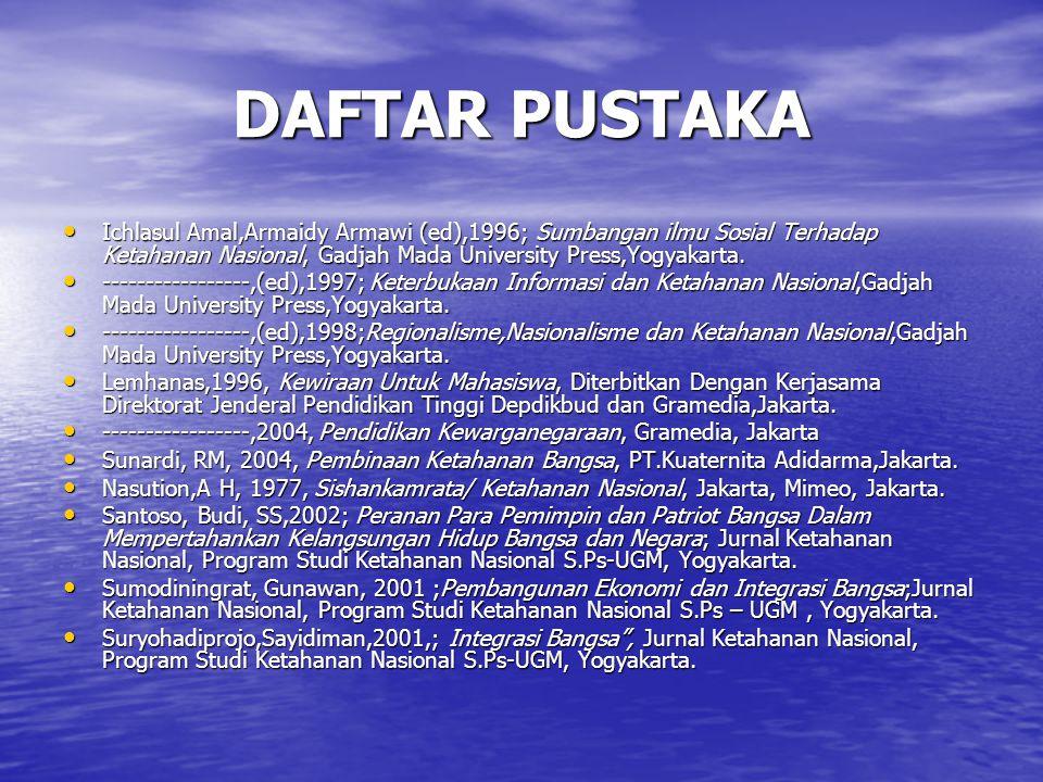 DAFTAR PUSTAKA Ichlasul Amal,Armaidy Armawi (ed),1996; Sumbangan ilmu Sosial Terhadap Ketahanan Nasional, Gadjah Mada University Press,Yogyakarta. Ich