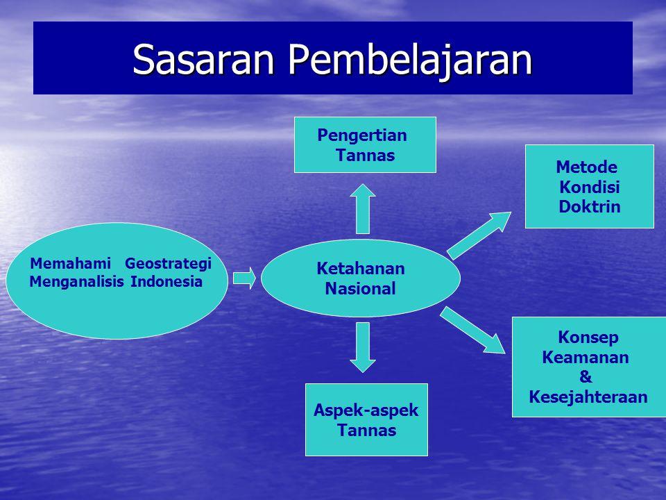 KETAHANAN NASIONAL SEBAGAI PERWUJUDAN GEOSTRATEGI INDONESIA Perkembangan konsep pengertian Tannas Perkembangan konsep pengertian Tannas Hakikat Ketahanan Nasional Hakikat Ketahanan Nasional Sifat-Sifat Ketahanan Nasional Sifat-Sifat Ketahanan Nasional Konsepsi Dasar Ketahanan Nasonal Konsepsi Dasar Ketahanan Nasonal