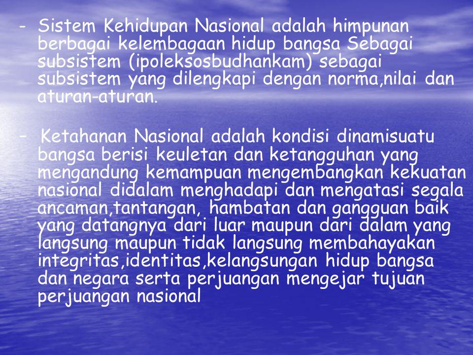 LATIHAN –Jelaskan seberapa pentingkah kajian tentang Ketahanan Nasional bagi suatu bangsa khususnya bangsa Indonesia.