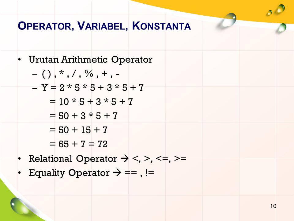 O PERATOR, V ARIABEL, K ONSTANTA Urutan Arithmetic Operator –( ), *, /, %, +, - –Y = 2 * 5 * 5 + 3 * 5 + 7 = 10 * 5 + 3 * 5 + 7 = 50 + 3 * 5 + 7 = 50 + 15 + 7 = 65 + 7 = 72 Relational Operator , = Equality Operator  ==, != 10
