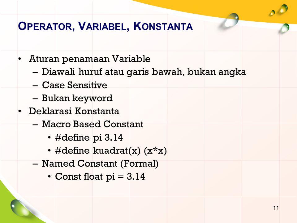 O PERATOR, V ARIABEL, K ONSTANTA Aturan penamaan Variable –Diawali huruf atau garis bawah, bukan angka –Case Sensitive –Bukan keyword Deklarasi Konsta