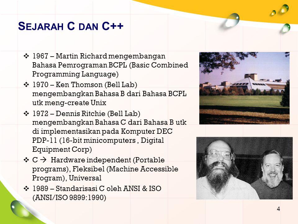  1980 – Bjarne Stroustrup (Bell Lab) mengembangkan Bahasa C++ dari Bahasa C  1983 – C++ dipublikasikan oleh Bell Lab  C++  C With Classes (Kemampuan Object Oriented Programming)  OOP  membangun software dengan cepat, tepat & ekonomis (produktif), mempermudah programmer menulis & memodifikasi program  Objects  Reuseable & Extendable 5 S EJARAH C DAN C++