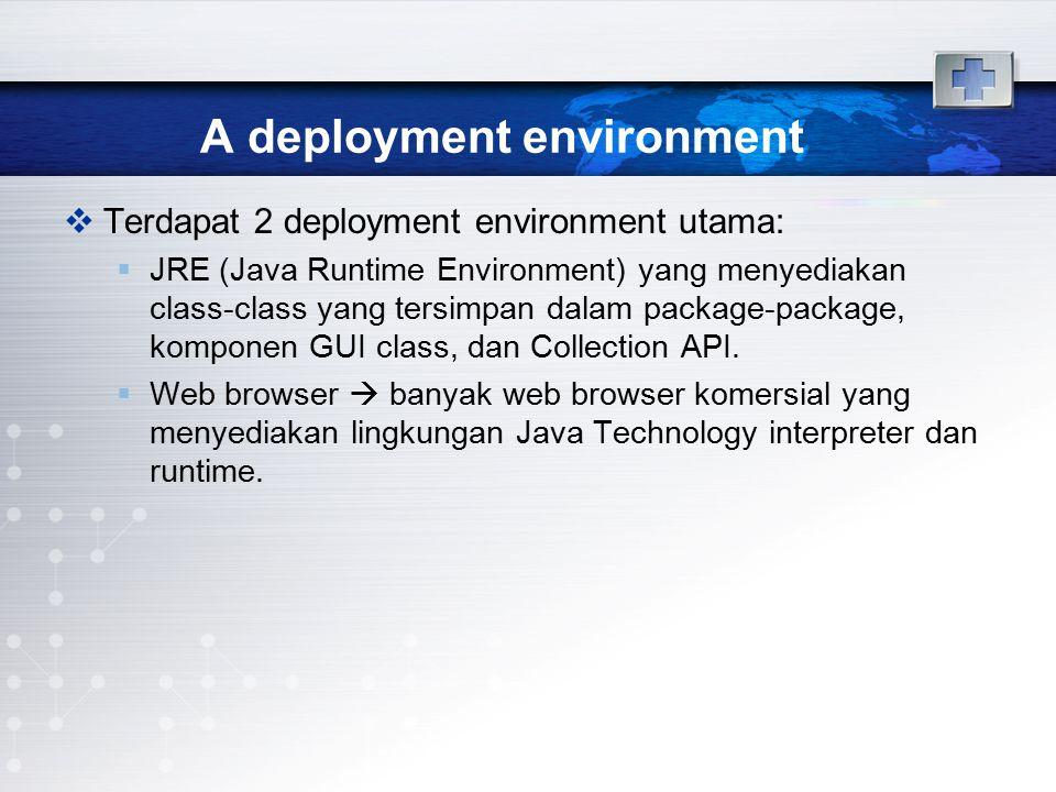 A deployment environment  Terdapat 2 deployment environment utama:  JRE (Java Runtime Environment) yang menyediakan class-class yang tersimpan dalam
