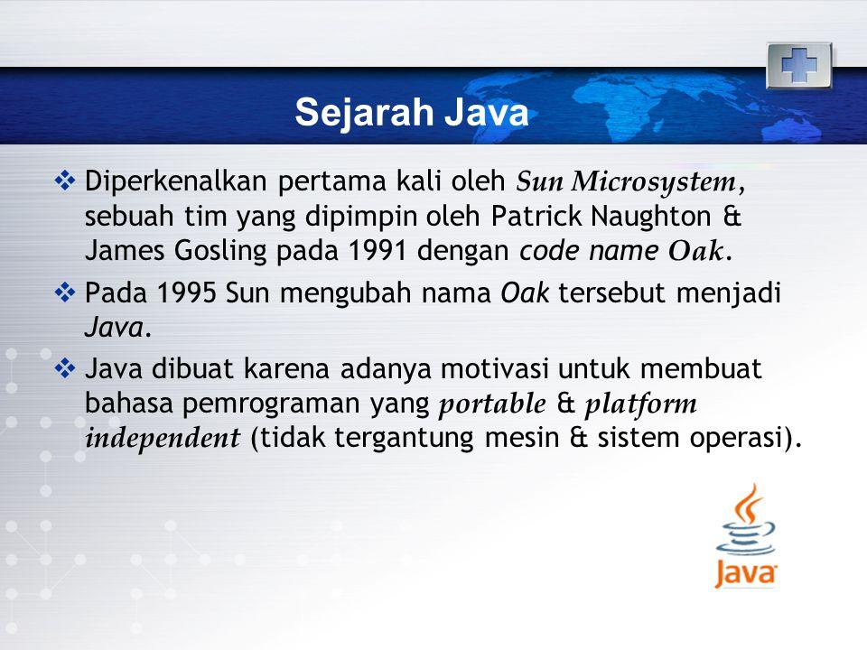 Sejarah Java  Diperkenalkan pertama kali oleh Sun Microsystem, sebuah tim yang dipimpin oleh Patrick Naughton & James Gosling pada 1991 dengan code n
