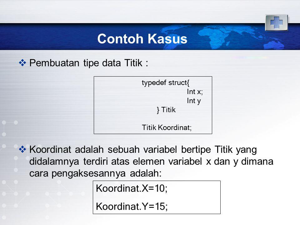 Contoh Kasus  Pembuatan tipe data Titik :  Koordinat adalah sebuah variabel bertipe Titik yang didalamnya terdiri atas elemen variabel x dan y diman