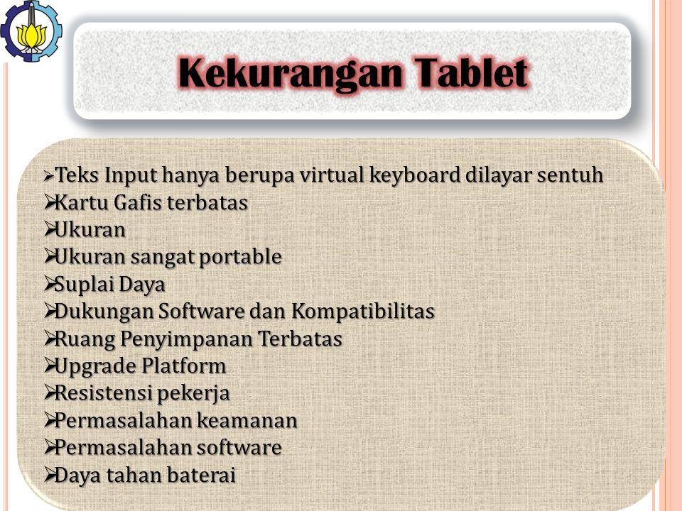  Teks Input hanya berupa virtual keyboard dilayar sentuh  Kartu Gafis terbatas  Ukuran  Ukuran sangat portable  Suplai Daya  Dukungan Software d