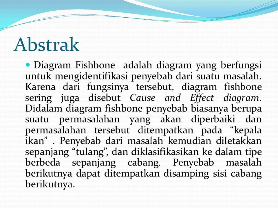 Abstrak Diagram Fishbone adalah diagram yang berfungsi untuk mengidentifikasi penyebab dari suatu masalah.