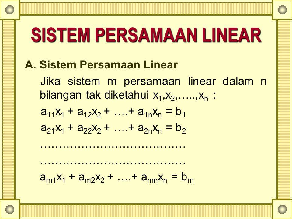 Penyelesaian : determinan matriks koefisien adalah :