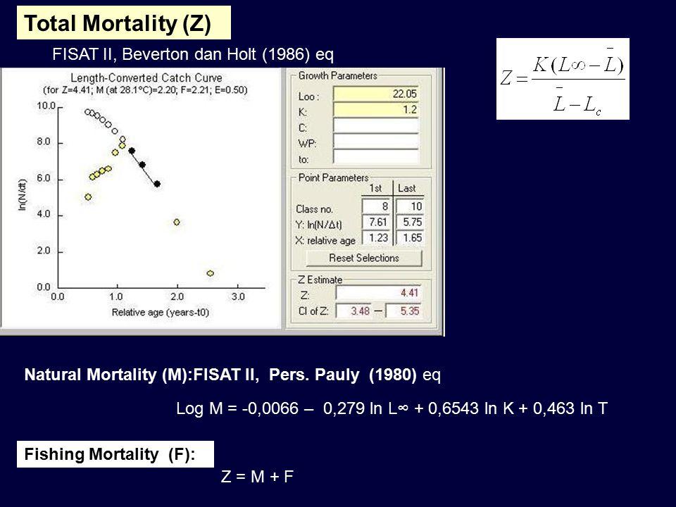 Total Mortality (Z) FISAT II, Beverton dan Holt (1986) eq Natural Mortality (M):FISAT II, Pers. Pauly (1980) eq Log M = -0,0066 – 0,279 ln L∞ + 0,6543