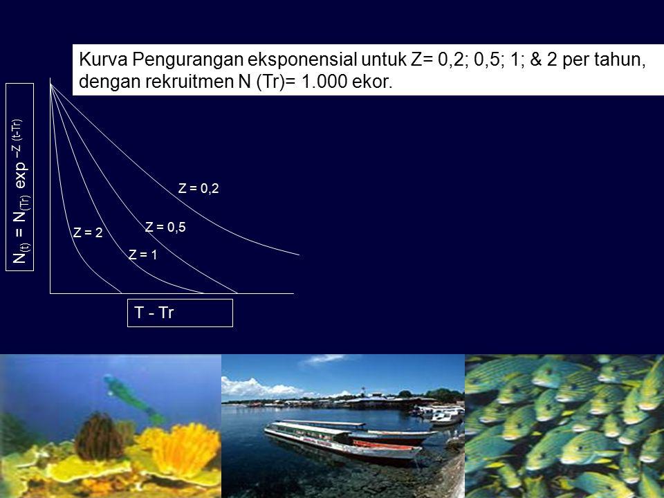 N (t) = N (Tr) exp –Z (t-Tr) T - Tr Z = 0,2 Z = 0,5 Z = 1 Z = 2 Kurva Pengurangan eksponensial untuk Z= 0,2; 0,5; 1; & 2 per tahun, dengan rekruitmen