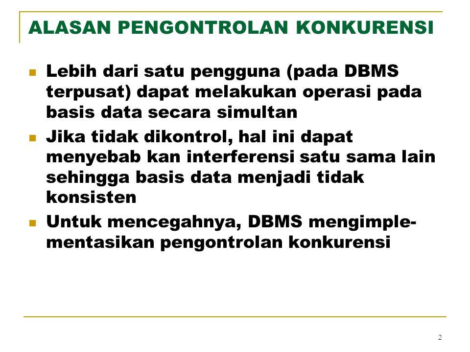 2 ALASAN PENGONTROLAN KONKURENSI Lebih dari satu pengguna (pada DBMS terpusat) dapat melakukan operasi pada basis data secara simultan Jika tidak diko