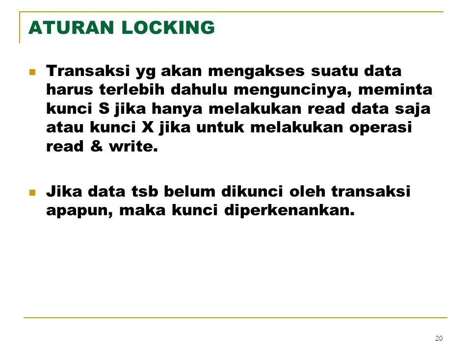 20 ATURAN LOCKING Transaksi yg akan mengakses suatu data harus terlebih dahulu menguncinya, meminta kunci S jika hanya melakukan read data saja atau k