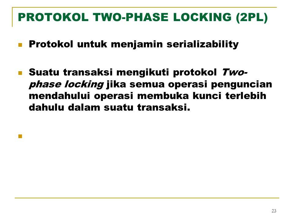 23 PROTOKOL TWO-PHASE LOCKING (2PL) Protokol untuk menjamin serializability Suatu transaksi mengikuti protokol Two- phase locking jika semua operasi p