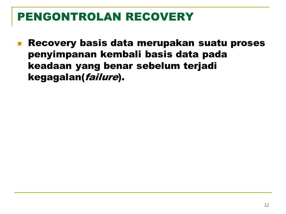 32 PENGONTROLAN RECOVERY Recovery basis data merupakan suatu proses penyimpanan kembali basis data pada keadaan yang benar sebelum terjadi kegagalan(f