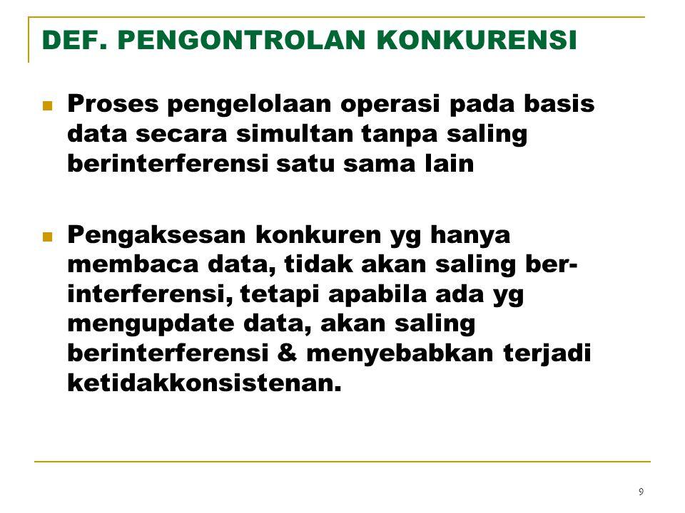 9 DEF. PENGONTROLAN KONKURENSI Proses pengelolaan operasi pada basis data secara simultan tanpa saling berinterferensi satu sama lain Pengaksesan konk
