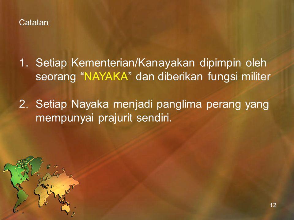 "Catatan: 1.Setiap Kementerian/Kanayakan dipimpin oleh seorang ""NAYAKA"" dan diberikan fungsi militer 2.Setiap Nayaka menjadi panglima perang yang mempu"