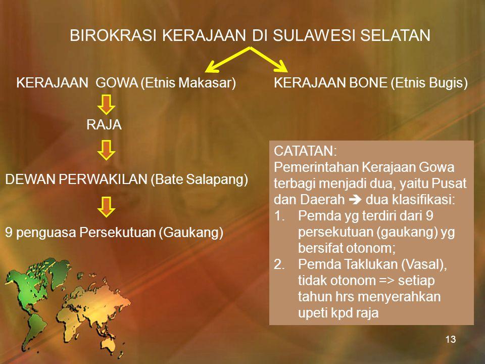 BIROKRASI KERAJAAN DI SULAWESI SELATAN KERAJAAN GOWA (Etnis Makasar)KERAJAAN BONE (Etnis Bugis) RAJA DEWAN PERWAKILAN (Bate Salapang) 9 penguasa Perse