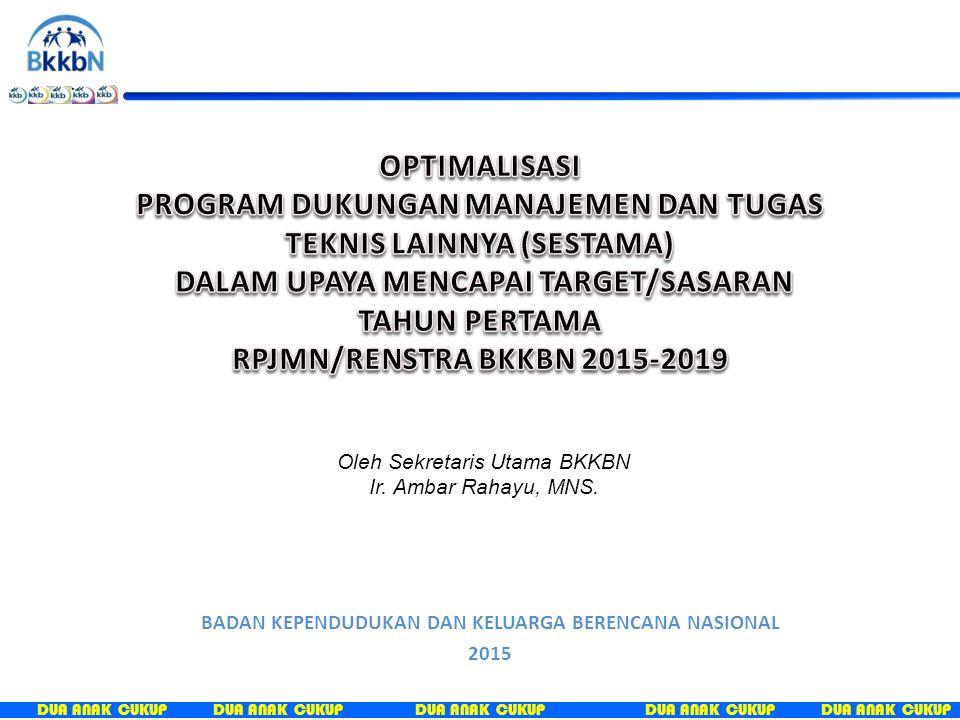 DUA ANAK CUKUP BADAN KEPENDUDUKAN DAN KELUARGA BERENCANA NASIONAL 2015 Oleh Sekretaris Utama BKKBN Ir. Ambar Rahayu, MNS.