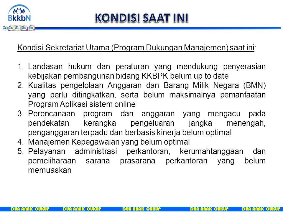 DUA ANAK CUKUP Kondisi Sekretariat Utama (Program Dukungan Manajemen) saat ini: 1.Landasan hukum dan peraturan yang mendukung penyerasian kebijakan pe