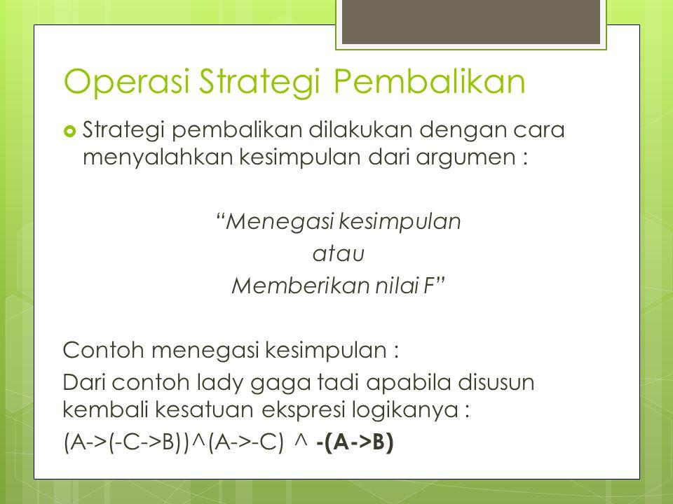 Operasi Strategi Pembalikan  Strategi pembalikan dilakukan dengan cara menyalahkan kesimpulan dari argumen : Menegasi kesimpulan atau Memberikan nilai F Contoh menegasi kesimpulan : Dari contoh lady gaga tadi apabila disusun kembali kesatuan ekspresi logikanya : (A->(-C->B))^(A->-C) ^ -(A->B)