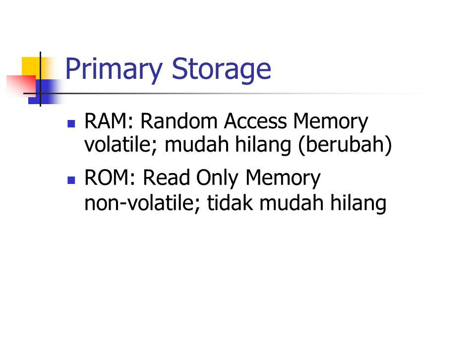 Primary Storage RAM: Random Access Memory volatile; mudah hilang (berubah) ROM: Read Only Memory non-volatile; tidak mudah hilang