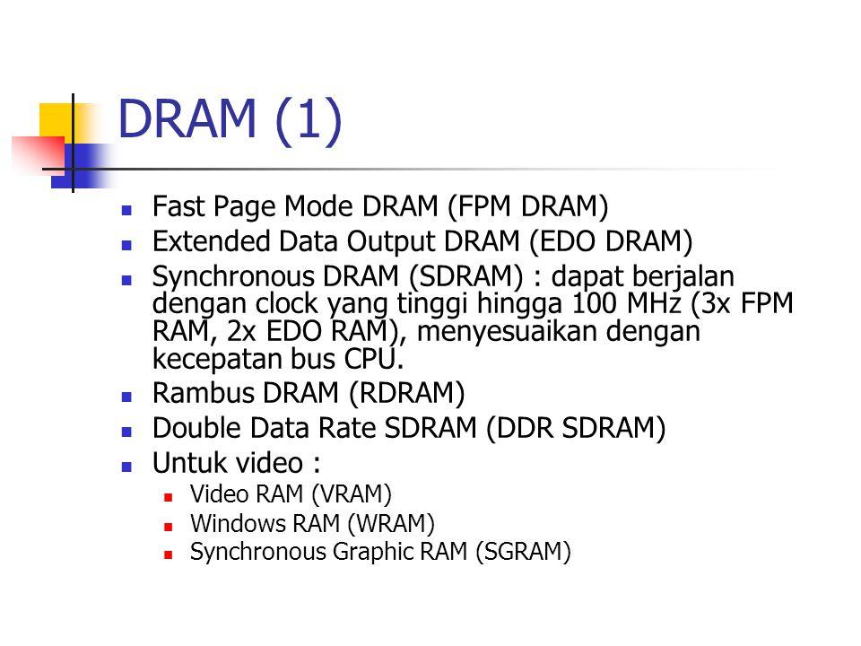 DRAM (1) Fast Page Mode DRAM (FPM DRAM) Extended Data Output DRAM (EDO DRAM) Synchronous DRAM (SDRAM) : dapat berjalan dengan clock yang tinggi hingga 100 MHz (3x FPM RAM, 2x EDO RAM), menyesuaikan dengan kecepatan bus CPU.