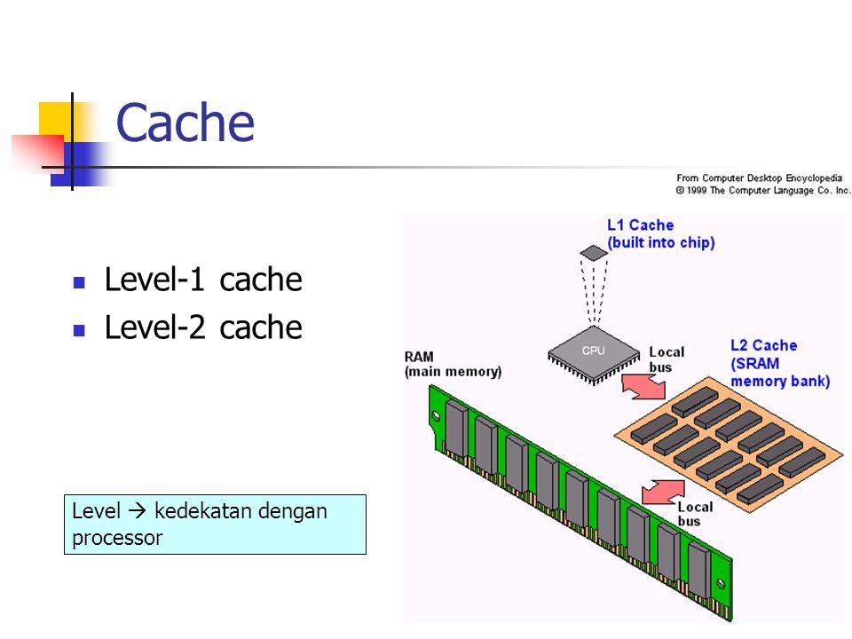 Cache Level-1 cache Level-2 cache Level  kedekatan dengan processor