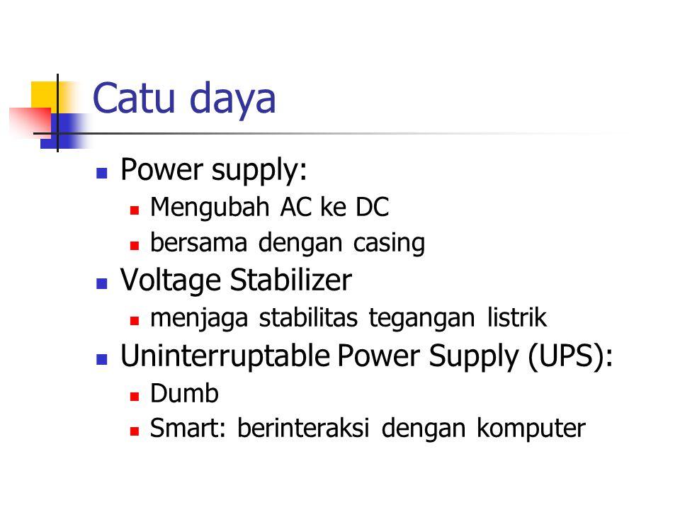 Catu daya Power supply: Mengubah AC ke DC bersama dengan casing Voltage Stabilizer menjaga stabilitas tegangan listrik Uninterruptable Power Supply (UPS): Dumb Smart: berinteraksi dengan komputer