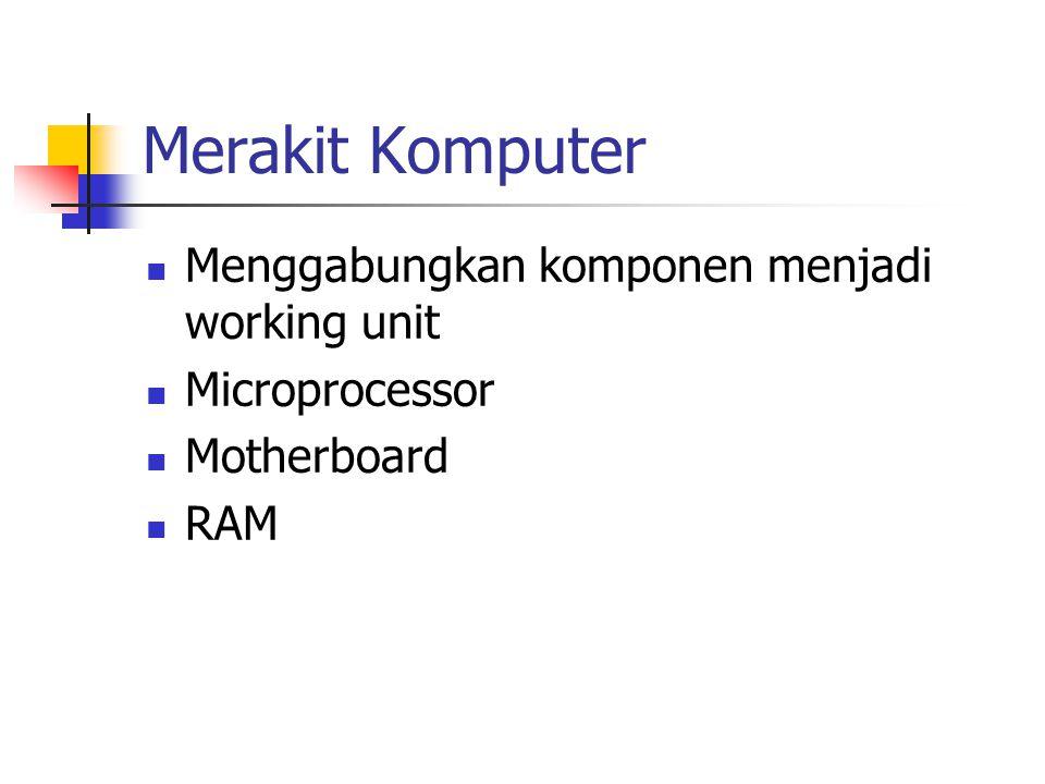 Merakit Komputer Menggabungkan komponen menjadi working unit Microprocessor Motherboard RAM