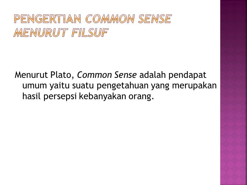 Menurut Plato, Common Sense adalah pendapat umum yaitu suatu pengetahuan yang merupakan hasil persepsi kebanyakan orang.