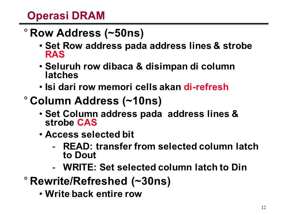 12 Operasi DRAM °Row Address (~50ns) Set Row address pada address lines & strobe RAS Seluruh row dibaca & disimpan di column latches Isi dari row memori cells akan di-refresh °Column Address (~10ns) Set Column address pada address lines & strobe CAS Access selected bit -READ: transfer from selected column latch to Dout -WRITE: Set selected column latch to Din °Rewrite/Refreshed (~30ns) Write back entire row