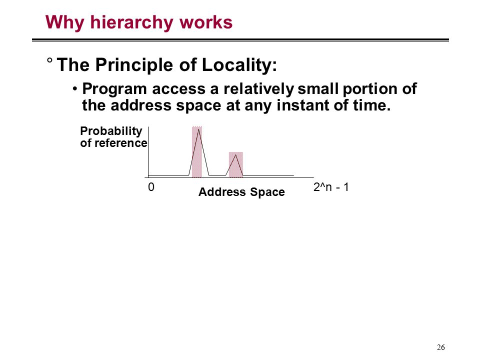 26 Why hierarchy works °The Principle of Locality: Program access a relatively small portion of the address space at any instant of time. Address Spac