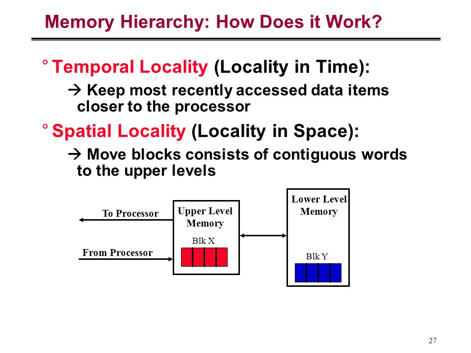 27 Memory Hierarchy: How Does it Work? °Temporal Locality (Locality in Time):  Keep most recently accessed data items closer to the processor °Spatia