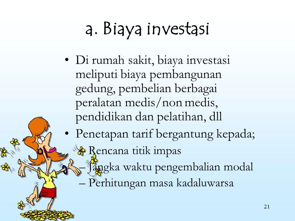 21 a. Biaya investasi Di rumah sakit, biaya investasi meliputi biaya pembangunan gedung, pembelian berbagai peralatan medis/non medis, pendidikan dan