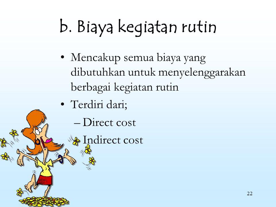 22 b. Biaya kegiatan rutin Mencakup semua biaya yang dibutuhkan untuk menyelenggarakan berbagai kegiatan rutin Terdiri dari; –Direct cost –Indirect co