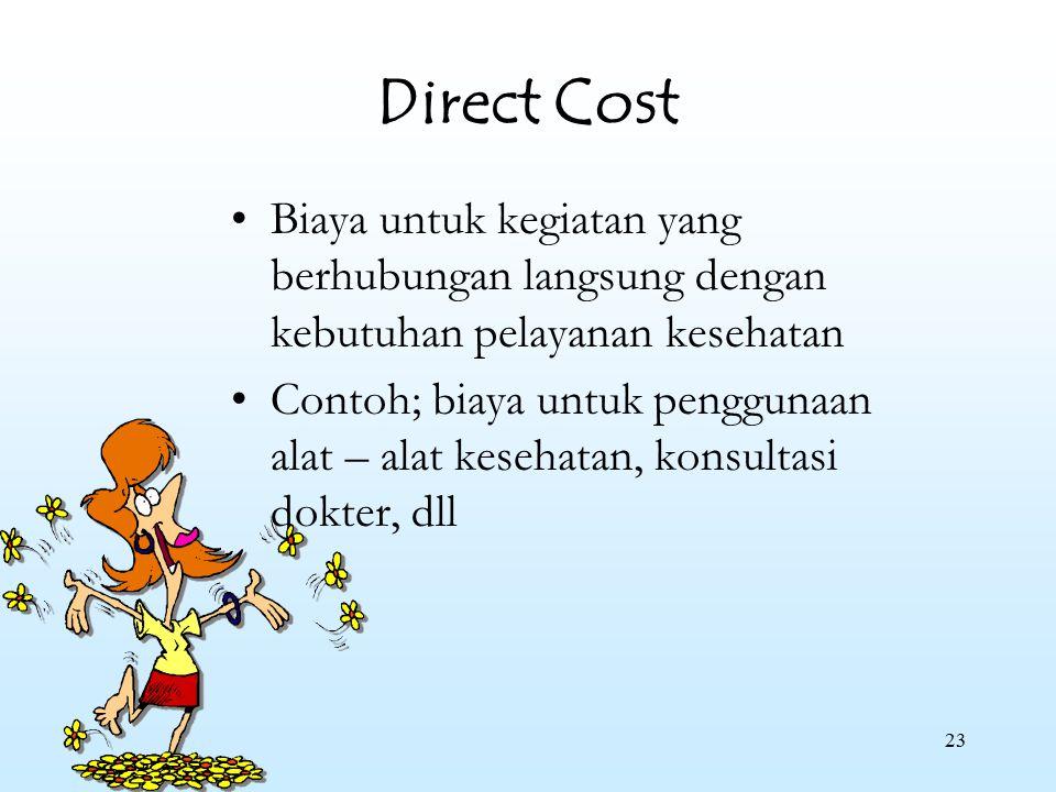 23 Direct Cost Biaya untuk kegiatan yang berhubungan langsung dengan kebutuhan pelayanan kesehatan Contoh; biaya untuk penggunaan alat – alat kesehata