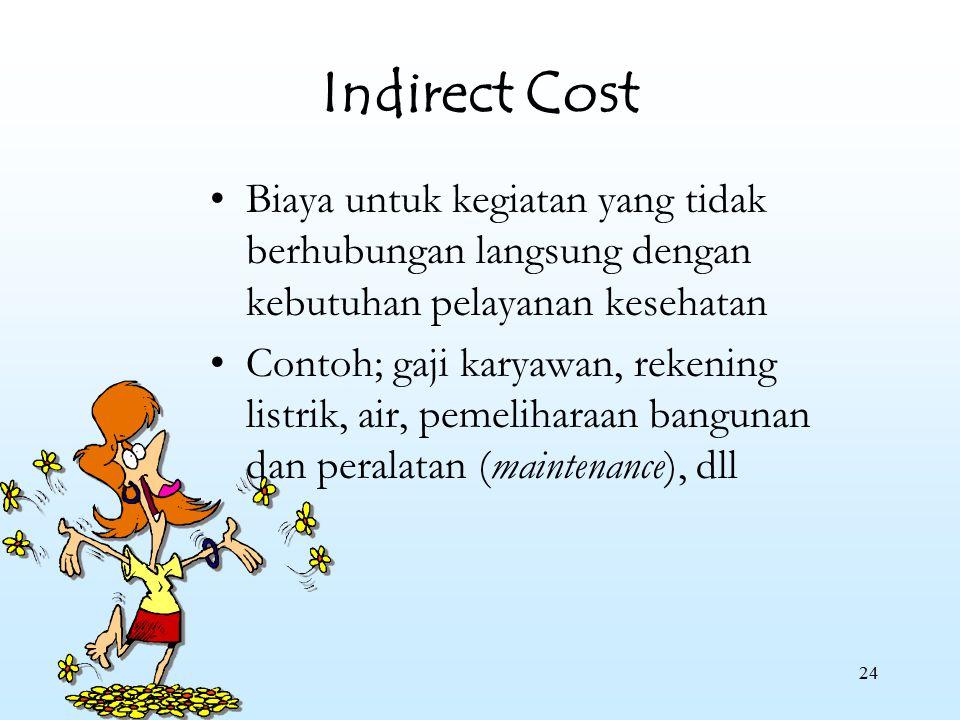 24 Indirect Cost Biaya untuk kegiatan yang tidak berhubungan langsung dengan kebutuhan pelayanan kesehatan Contoh; gaji karyawan, rekening listrik, ai