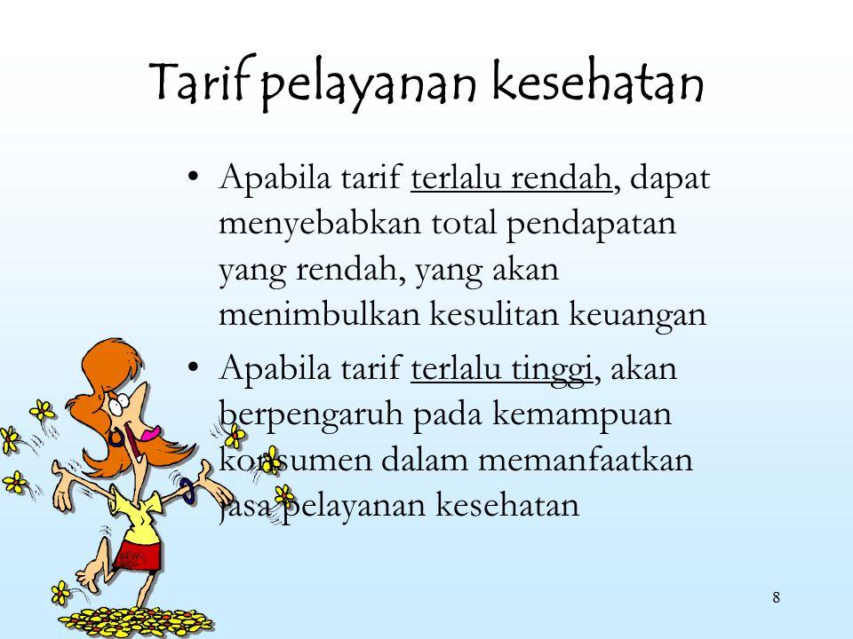 8 Tarif pelayanan kesehatan Apabila tarif terlalu rendah, dapat menyebabkan total pendapatan yang rendah, yang akan menimbulkan kesulitan keuangan Apa
