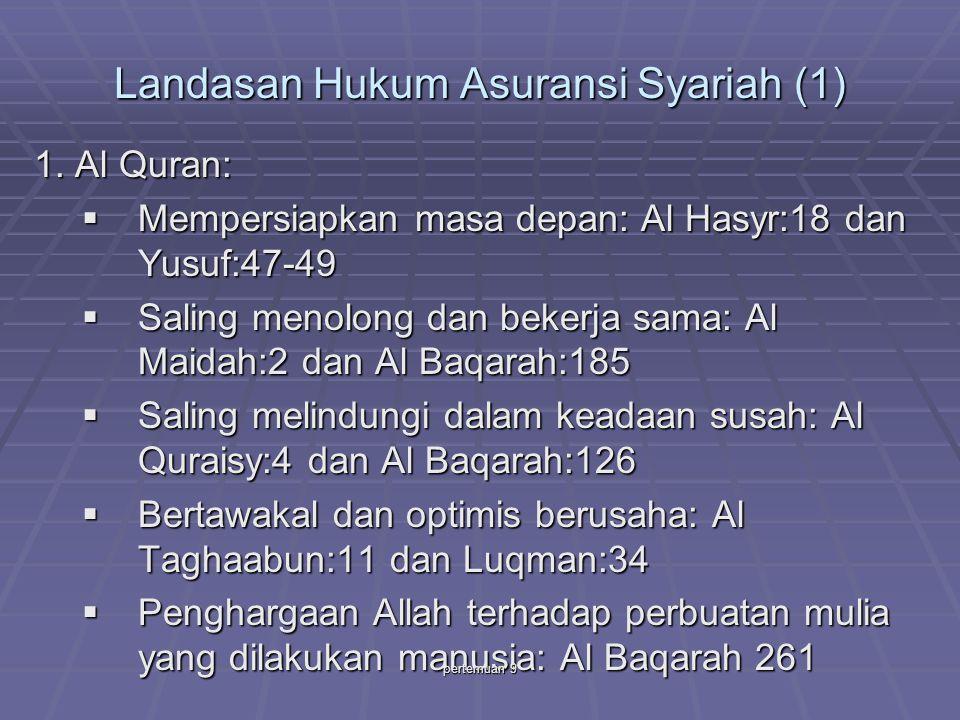 Landasan Hukum Asuransi Syariah (1) 1. Al Quran:  Mempersiapkan masa depan: Al Hasyr:18 dan Yusuf:47-49  Saling menolong dan bekerja sama: Al Maidah