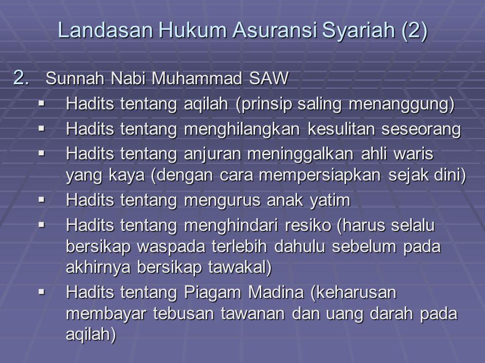 Landasan Hukum Asuransi Syariah (2) 2. Sunnah Nabi Muhammad SAW  Hadits tentang aqilah (prinsip saling menanggung)  Hadits tentang menghilangkan kes