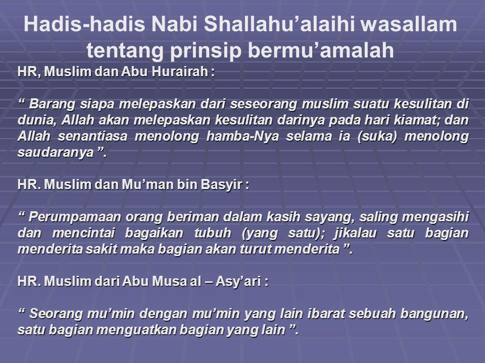 """Hadis-hadis Nabi Shallahu'alaihi wasallam tentang prinsip bermu'amalah HR, Muslim dan Abu Hurairah : """" Barang siapa melepaskan dari seseorang muslim s"""
