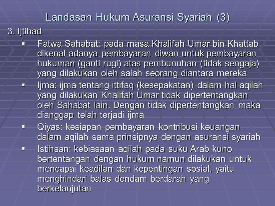 Landasan Hukum Asuransi Syariah (3) 3. Ijtihad  Fatwa Sahabat: pada masa Khalifah Umar bin Khattab dikenal adanya pembayaran diwan untuk pembayaran h
