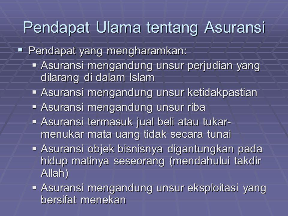 Pendapat Ulama tentang Asuransi  Pendapat yang mengharamkan:  Asuransi mengandung unsur perjudian yang dilarang di dalam Islam  Asuransi mengandung