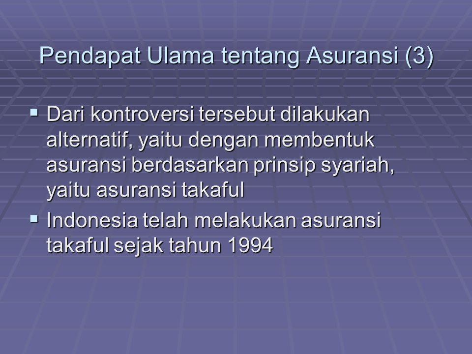 Pendapat Ulama tentang Asuransi (3)  Dari kontroversi tersebut dilakukan alternatif, yaitu dengan membentuk asuransi berdasarkan prinsip syariah, yai